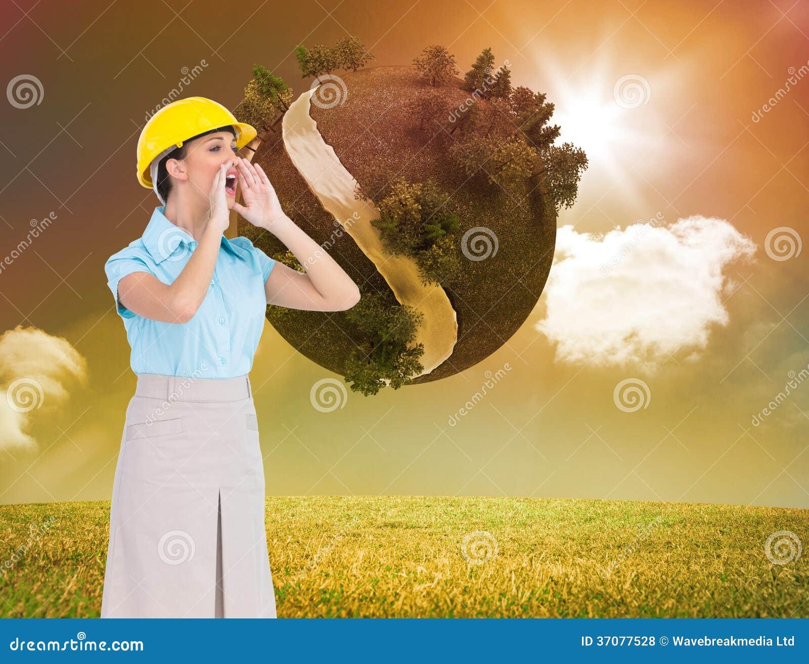 Download Atrakcyjny Architekta Krzyczeć Ilustracji - Ilustracja złożonej z kobiety, łąka: 37077528