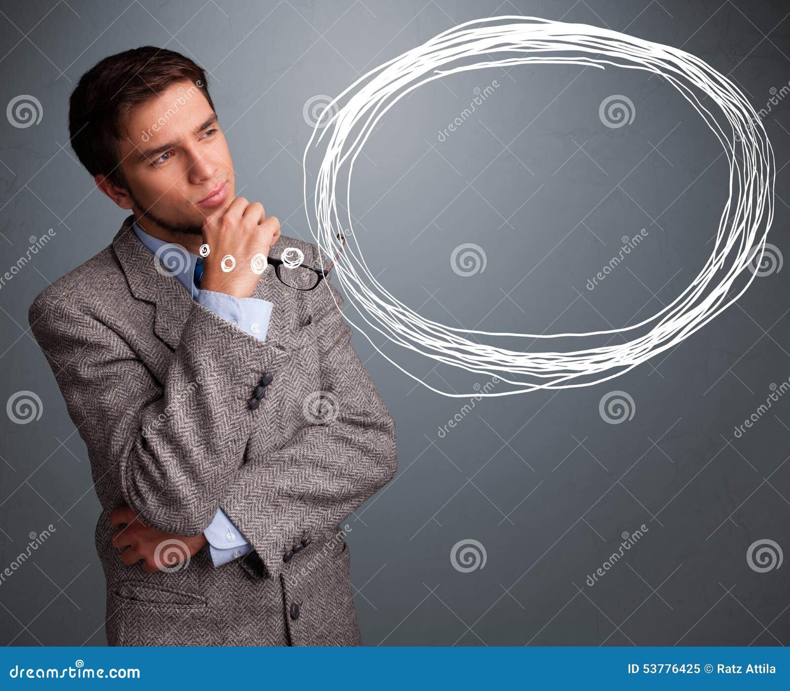 Atrakcyjny mężczyzna myśleć o mowy lub myśli bąblu z co
