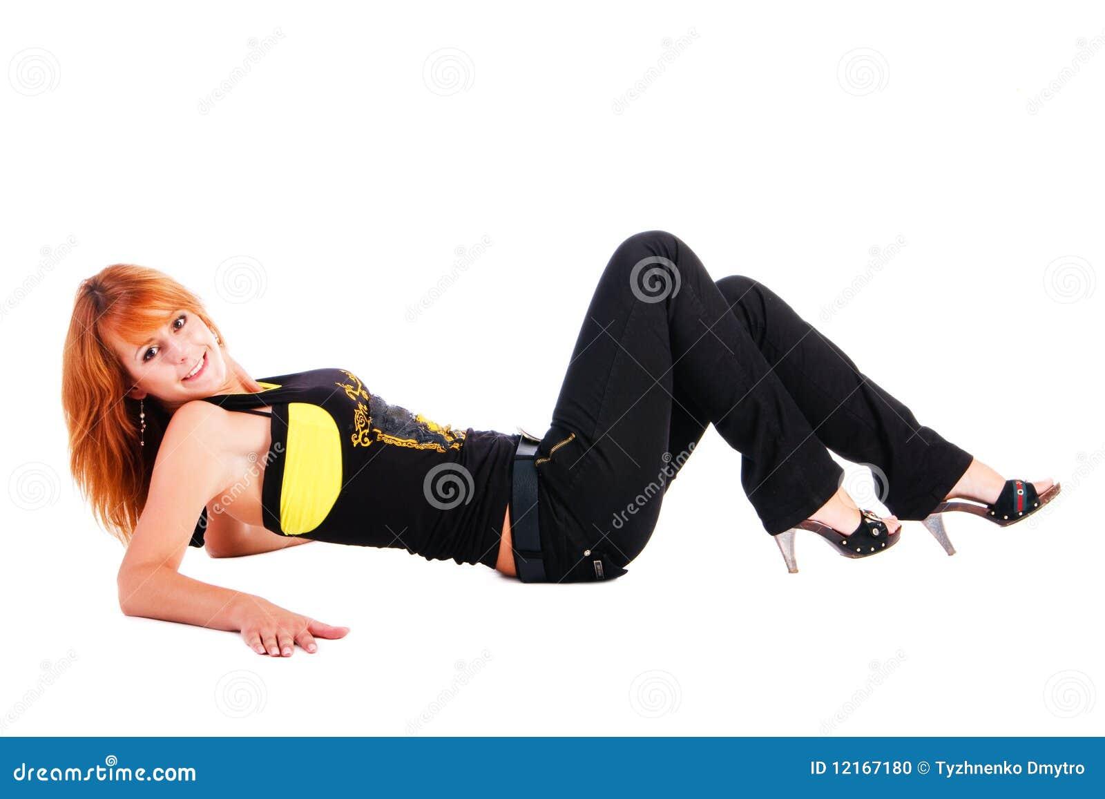 Atrakcyjny piękny podłogowy dziewczyny lying on the beach ja target316_0_
