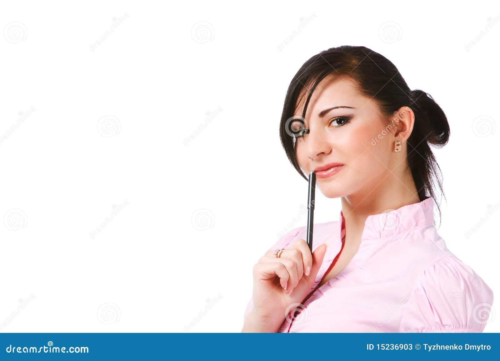 Atrakcyjnych bluzki dziewczyny papierów różowi potomstwa