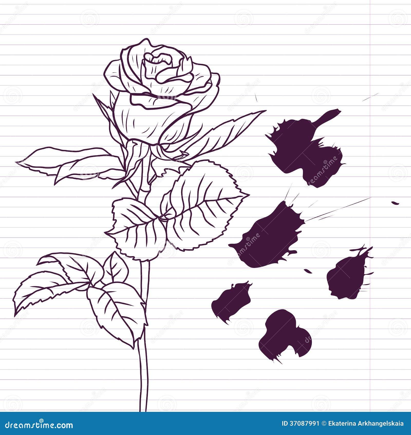 Download Atramentu rysunek wzrastał ilustracja wektor. Ilustracja złożonej z tło - 37087991