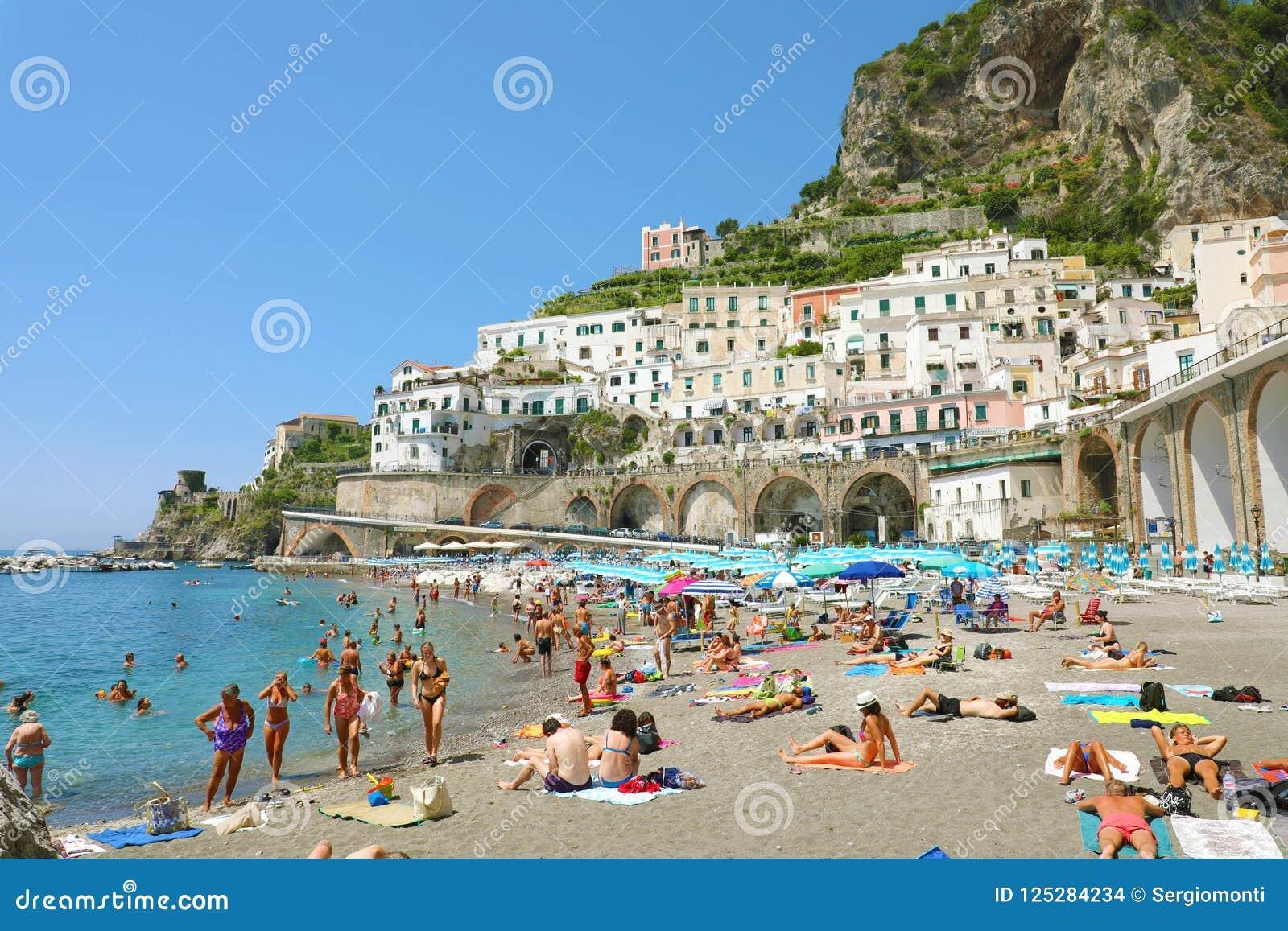 Atrani Italy July 2 2018 People On The Beach At Atrani