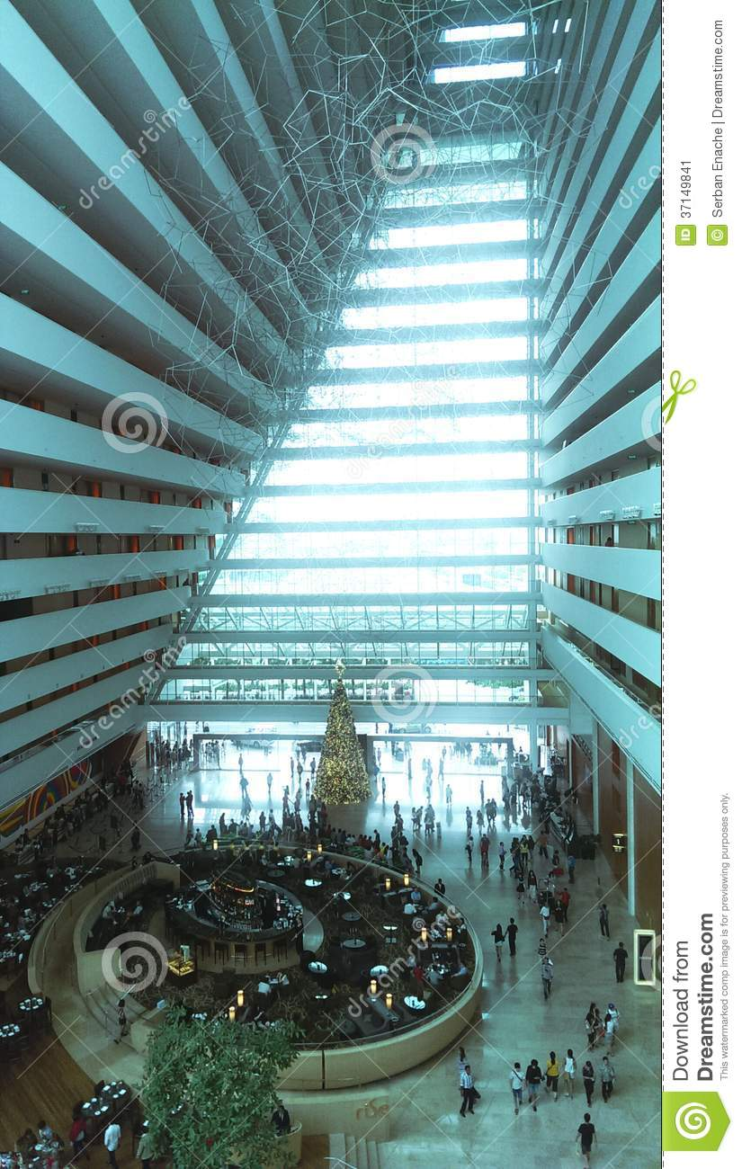 Atrium Of Marina Bay Sands Hotel Stock Image Image Of