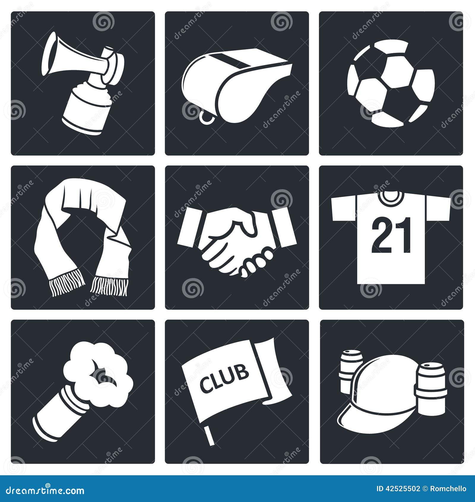 Atrybut piłki nożnej fan ikony kolekcja