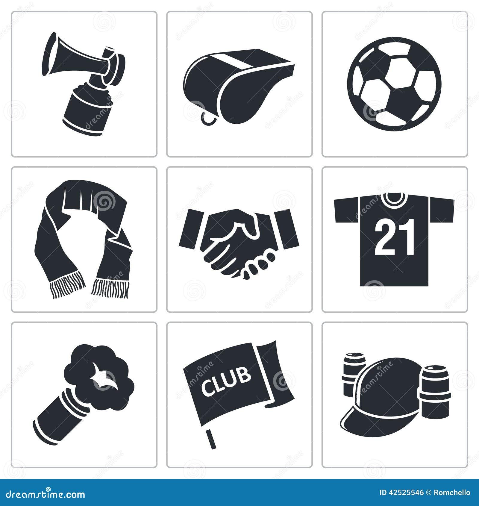 Atrybut piłki nożnej fan ikony set