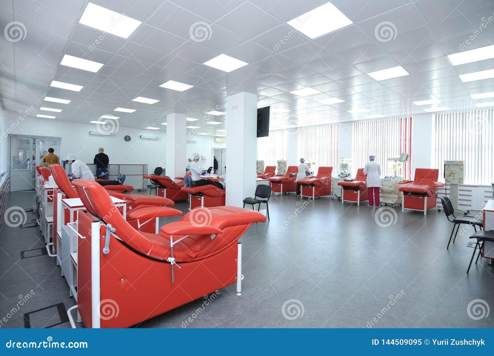 Att avskilja apparaturen och daybeds ställde in på stadsblodtransfusionstationen