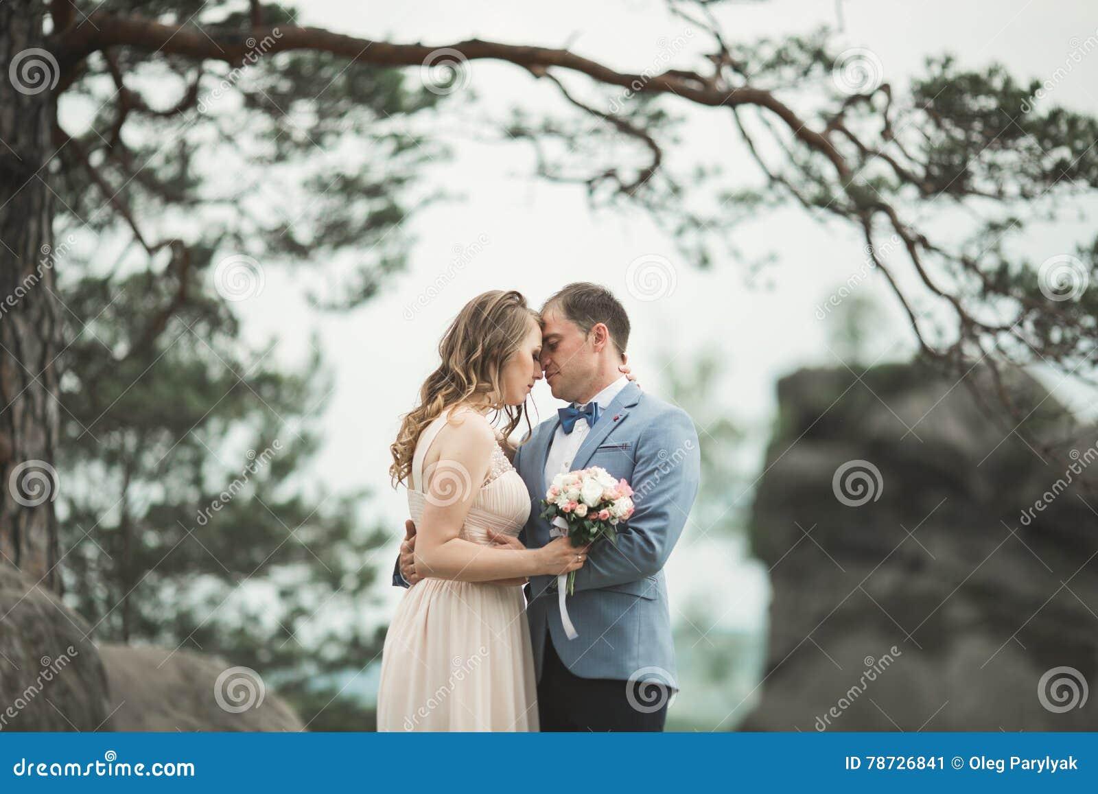 Att gifta sig förälskat kyssa för par och att krama nära vaggar på härligt landskap