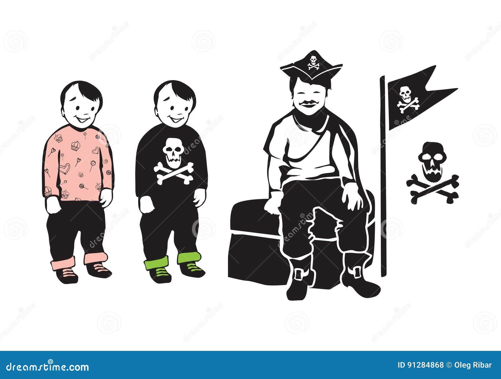 Att le piratkopierar sammanträde på skattbröstkorg med partiet kopplar samman bröder