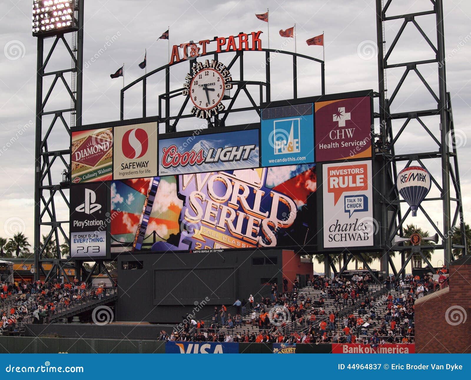 ATT Park HDTV Scoreboard in the outfield bleachers displays World Series logo