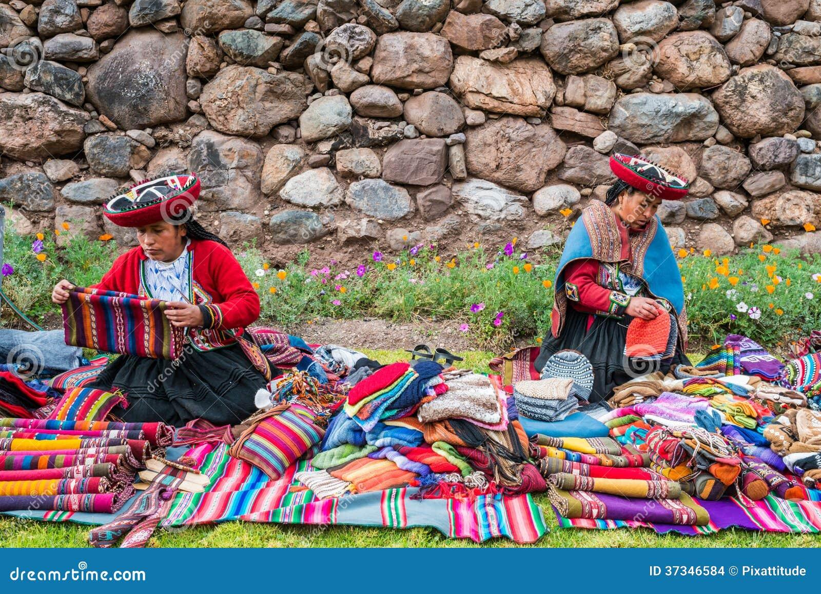 Att sälja för kvinnor handcraft peruanen Anderna Cuzco Peru