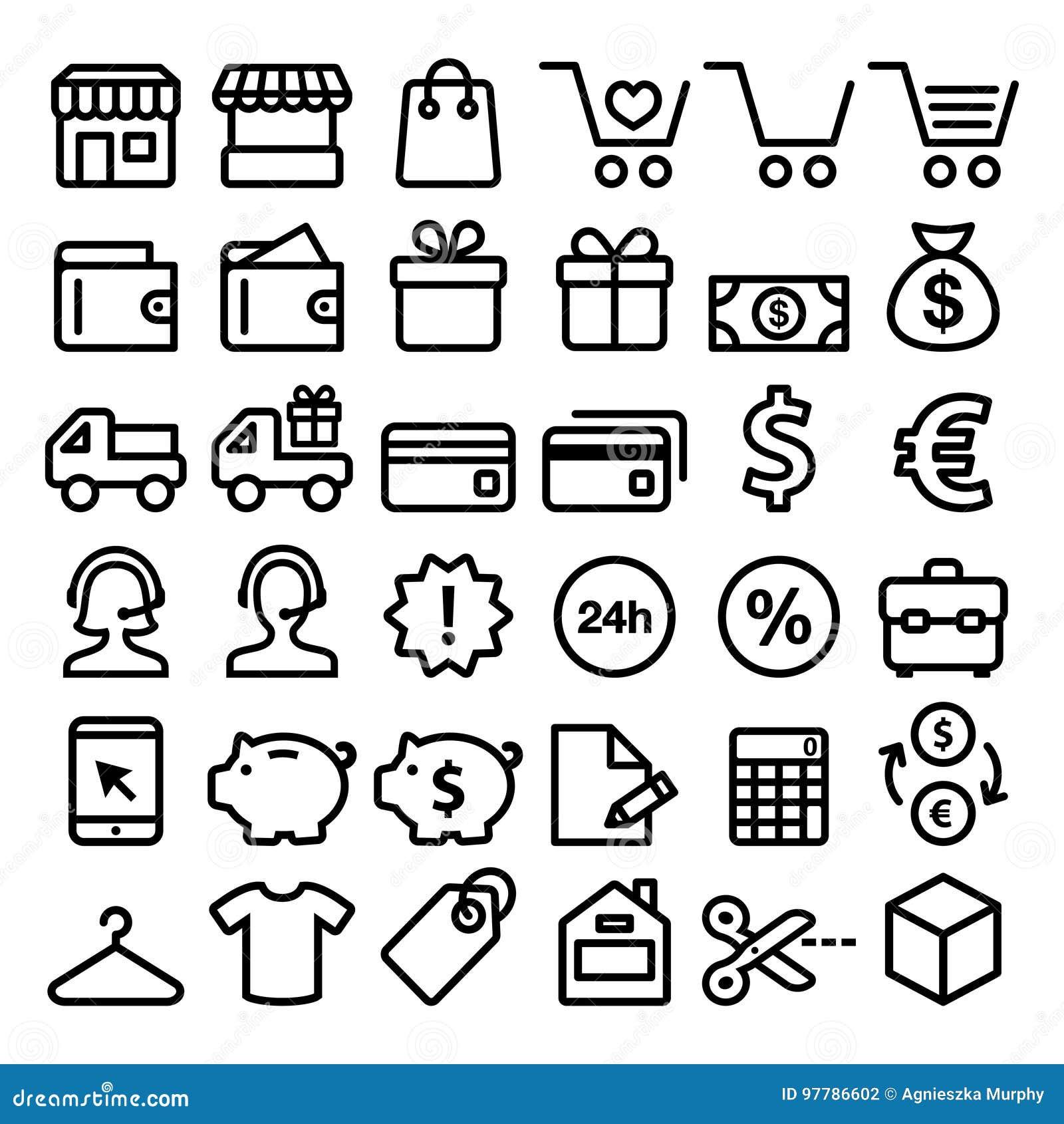 Att shoppa linjen symboler ställde in och att köpa direktanslutet, minimalist symboler för lagret - storpack