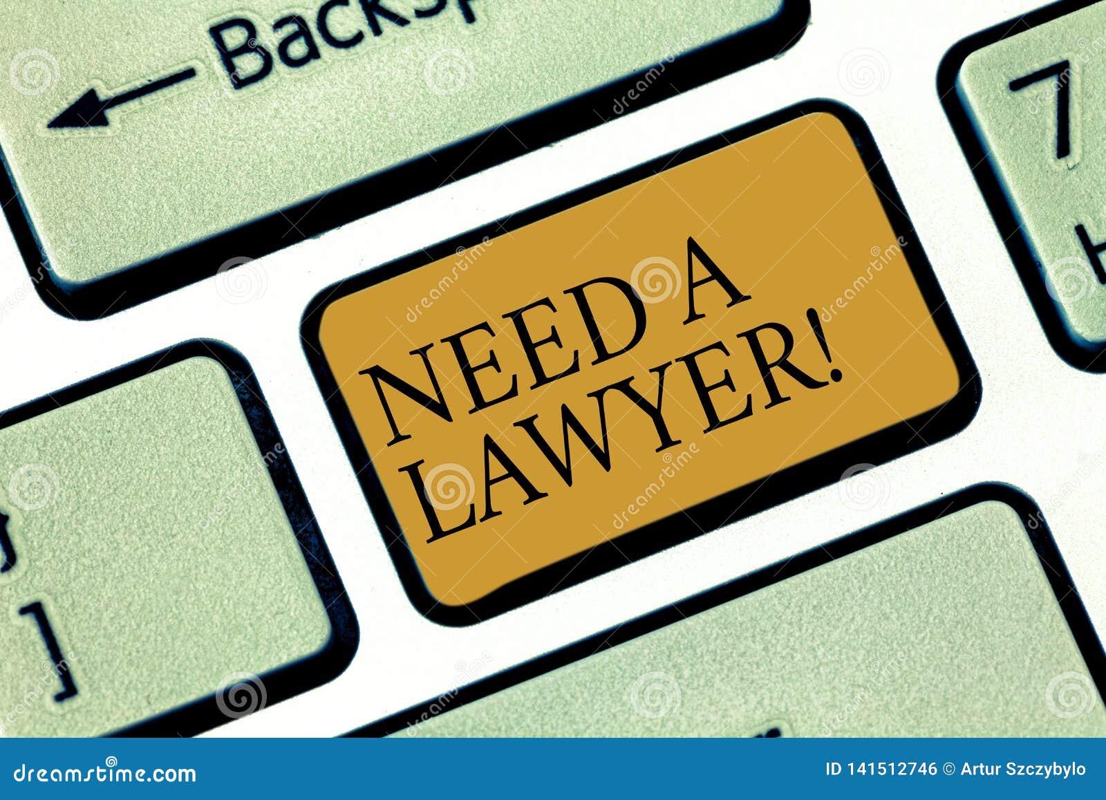 Att skriva anmärkningen showingNeed en advokat Affärsfoto som ställer ut att erbjuda av för advokatkonsultering för laglig rådgiv