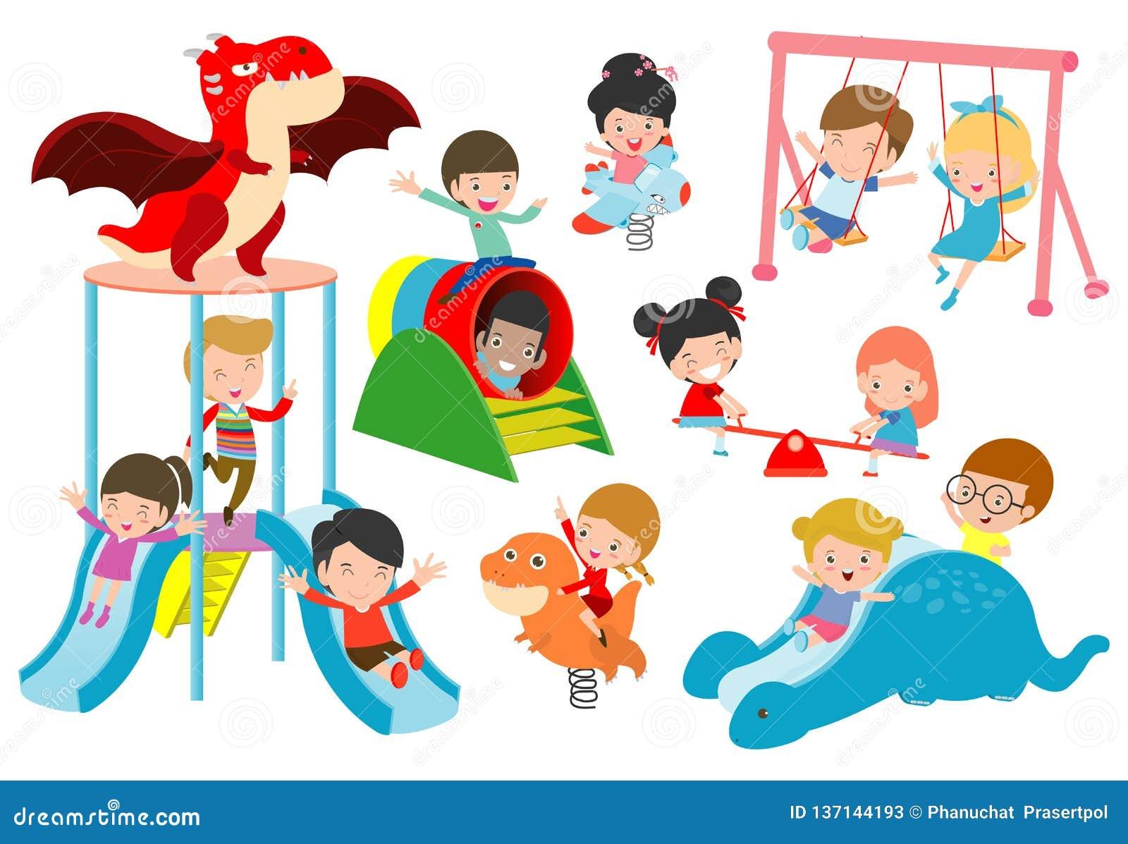 Att spela för ungar som är utvändigt, barnet som spelar på lekplatsen, lyckligt spela för barn, parkerar vektorillustrationen