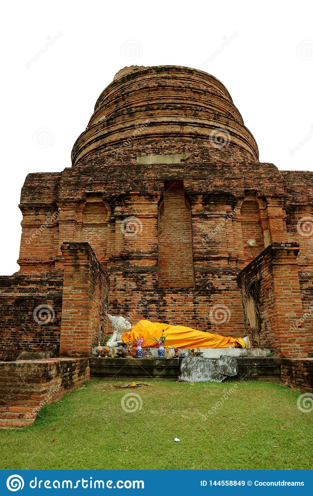 Att vila Buddhabild på Stupaen fördärvar av Wat Yai Chai Mongkhon Temple, arkeologisk plats i Ayutthaya