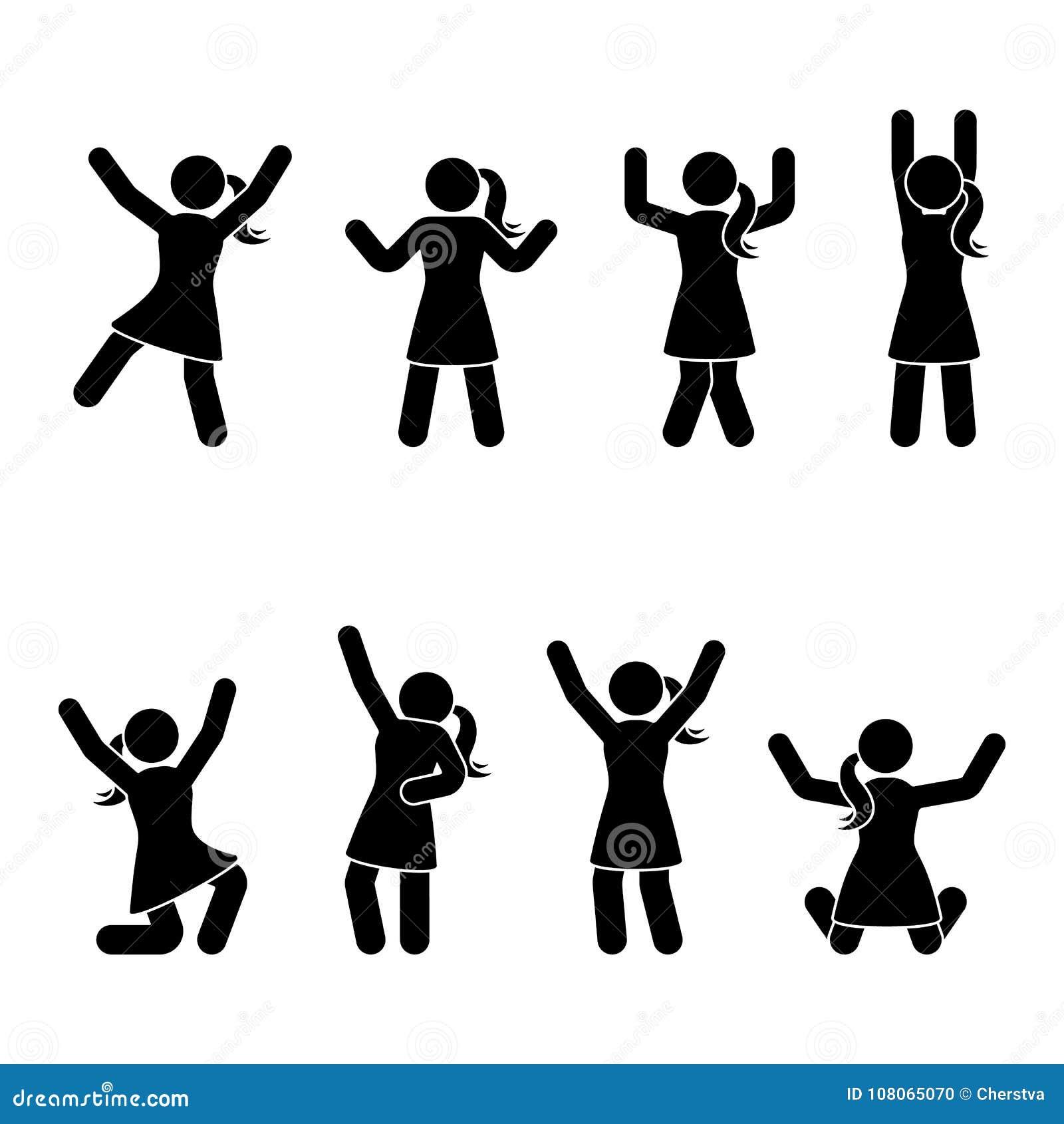 Attacchi la figura la felicità, la libertà, saltante, insieme di moto L illustrazione di vettore della celebrazione posa il pitto