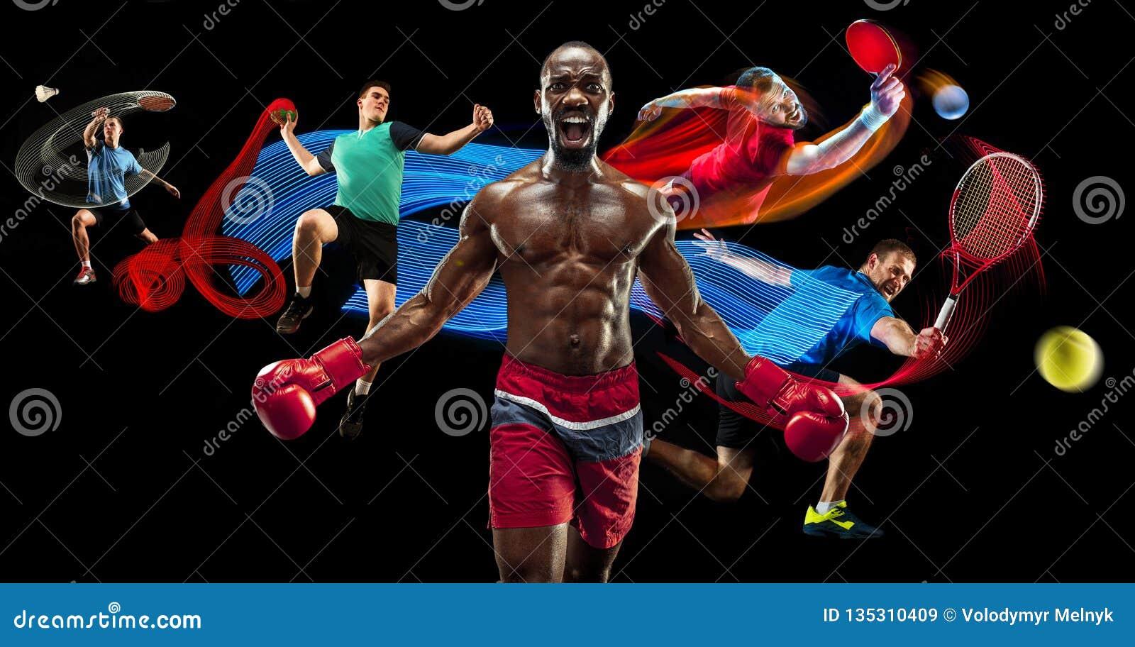 Attacco Collage di sport circa i giocatori di volano, di tennis, di pugilato e di pallamano