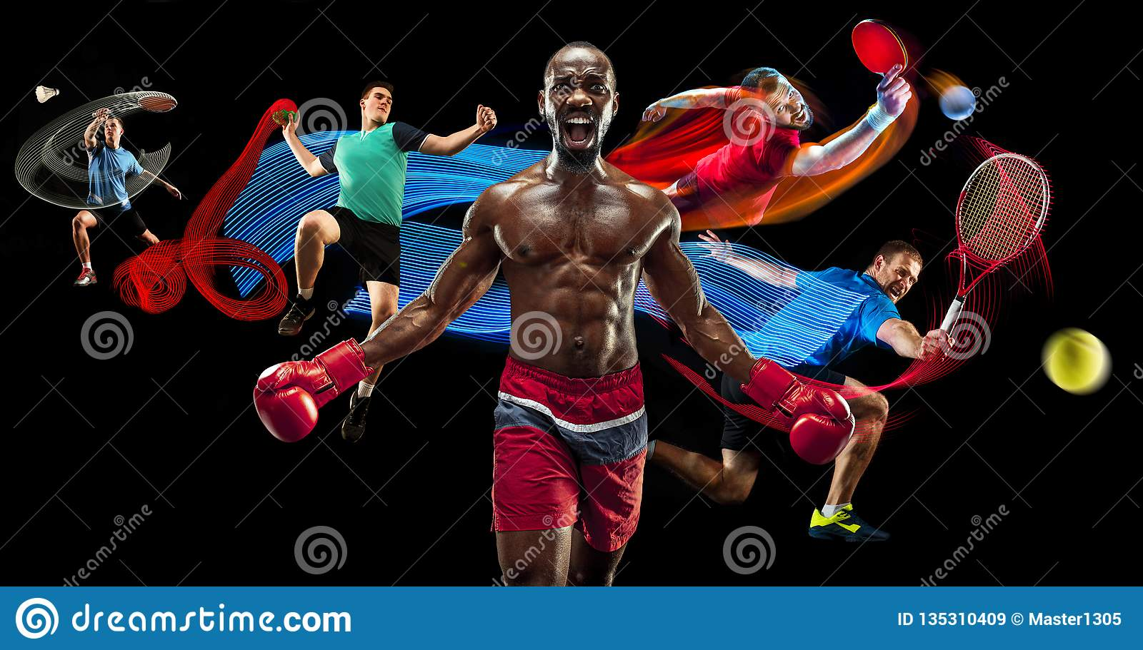 Attack. Sport collage about badminton, tennis, boxing and handball players