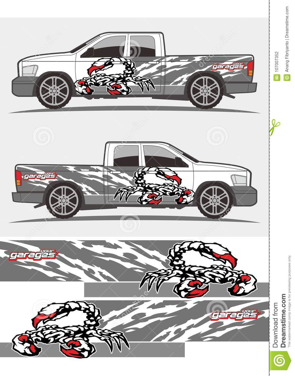 Attacked scorpion decal graphics kits design for trucks and van