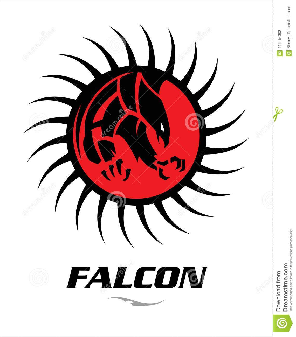 attacking black falcon with sharp big claw on the red circle tribal.