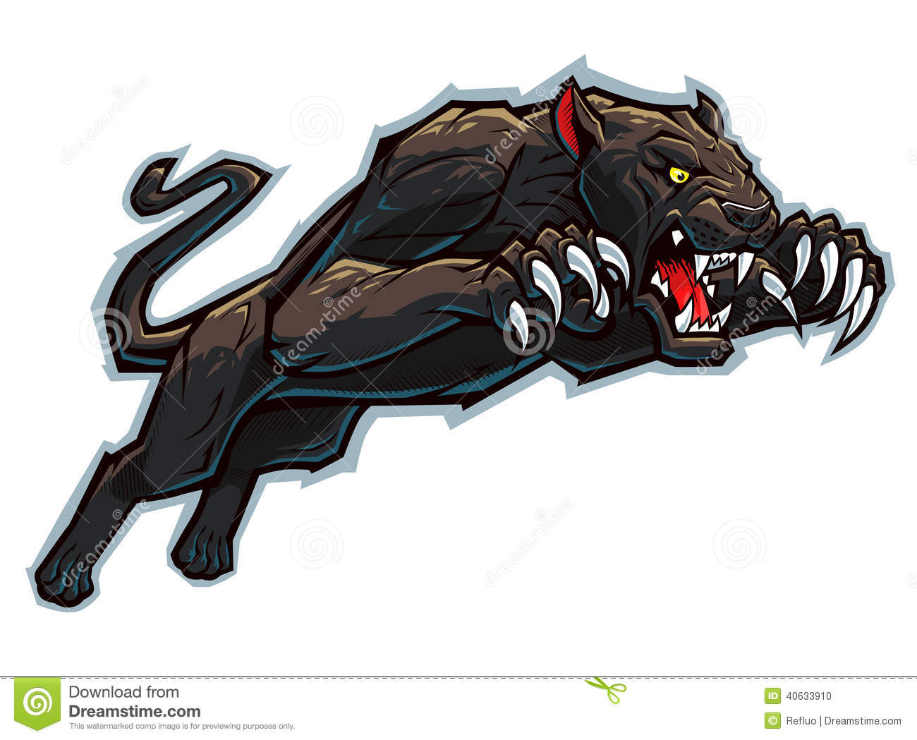 Attacking panther stock vector. Image of pastiche ...