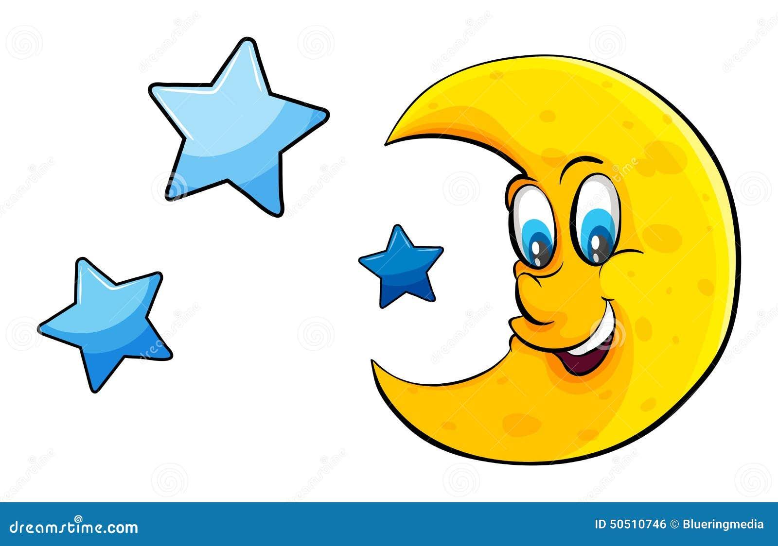 Atteinte de la lune et des toiles illustration de vecteur - Dessin de lune ...