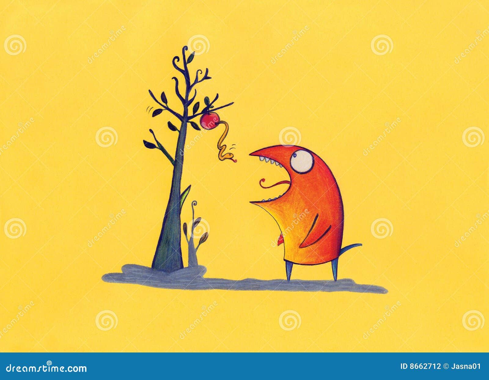 Attente de rouge de créature de pomme chaude