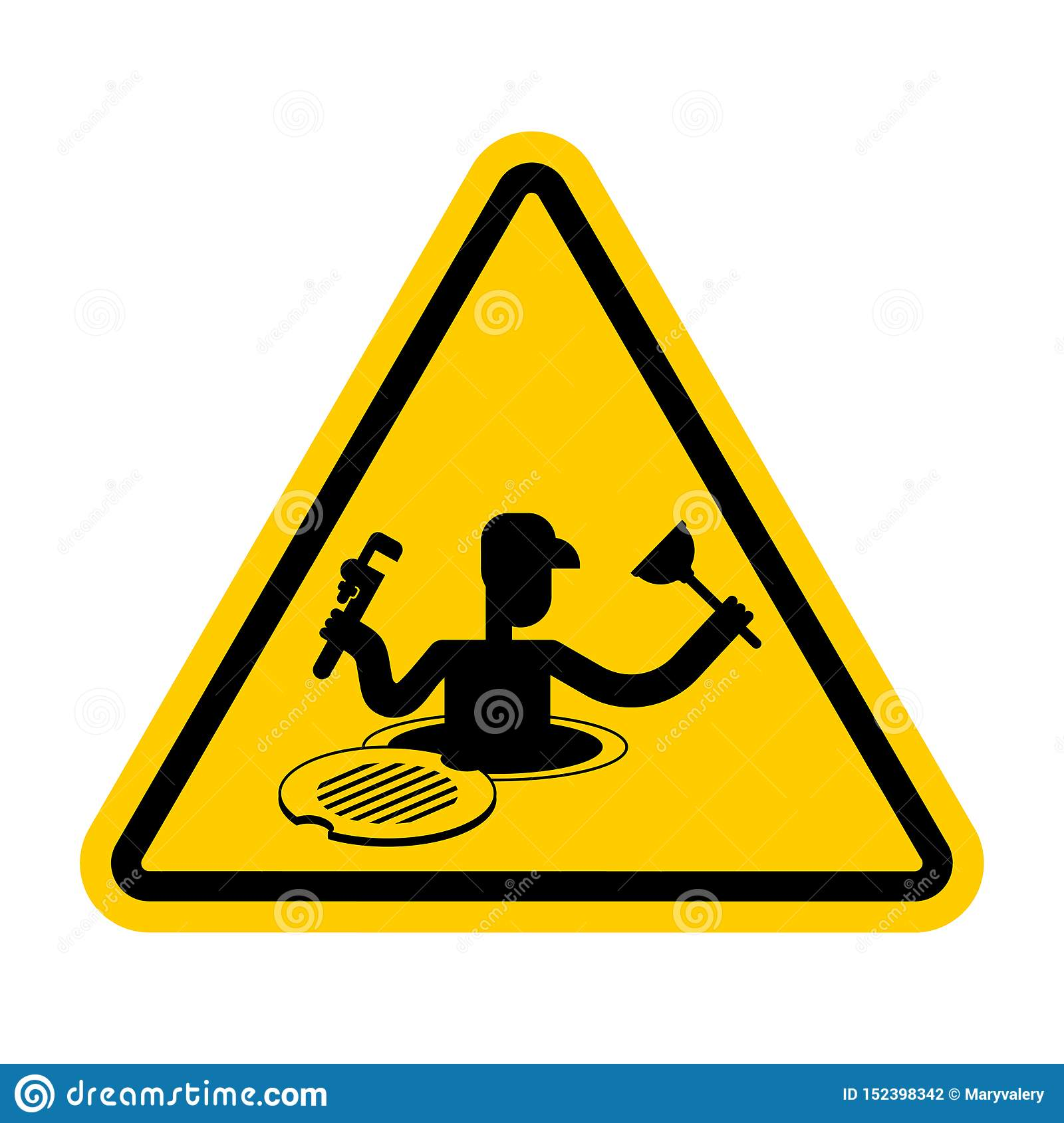 Problem Yellow Warning Sign Caution Trouble Issue Stock: Attention Plumber On Sewer. Warning Yellow Road Sign