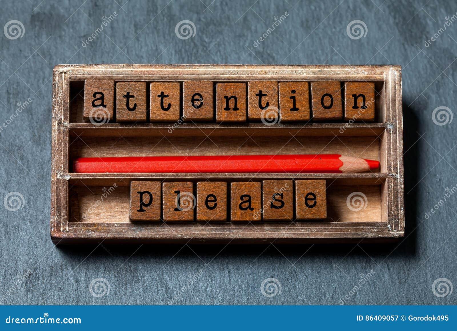 Attention s il vous plaît La note d avertissement et le rétro style avertissent le concept de bannière Boîte de vintage, cubes en