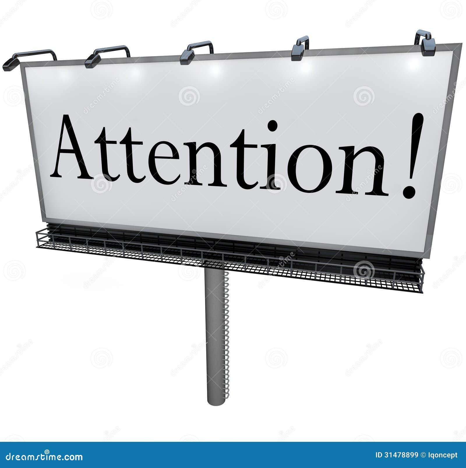 Attention Word sur le message urgent d annonce spéciale de panneau d affichage