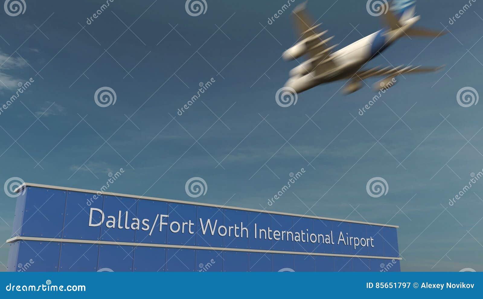 Atterraggio di aeroplano commerciale alla rappresentazione di Dallas Fort Worth International Airport 3D