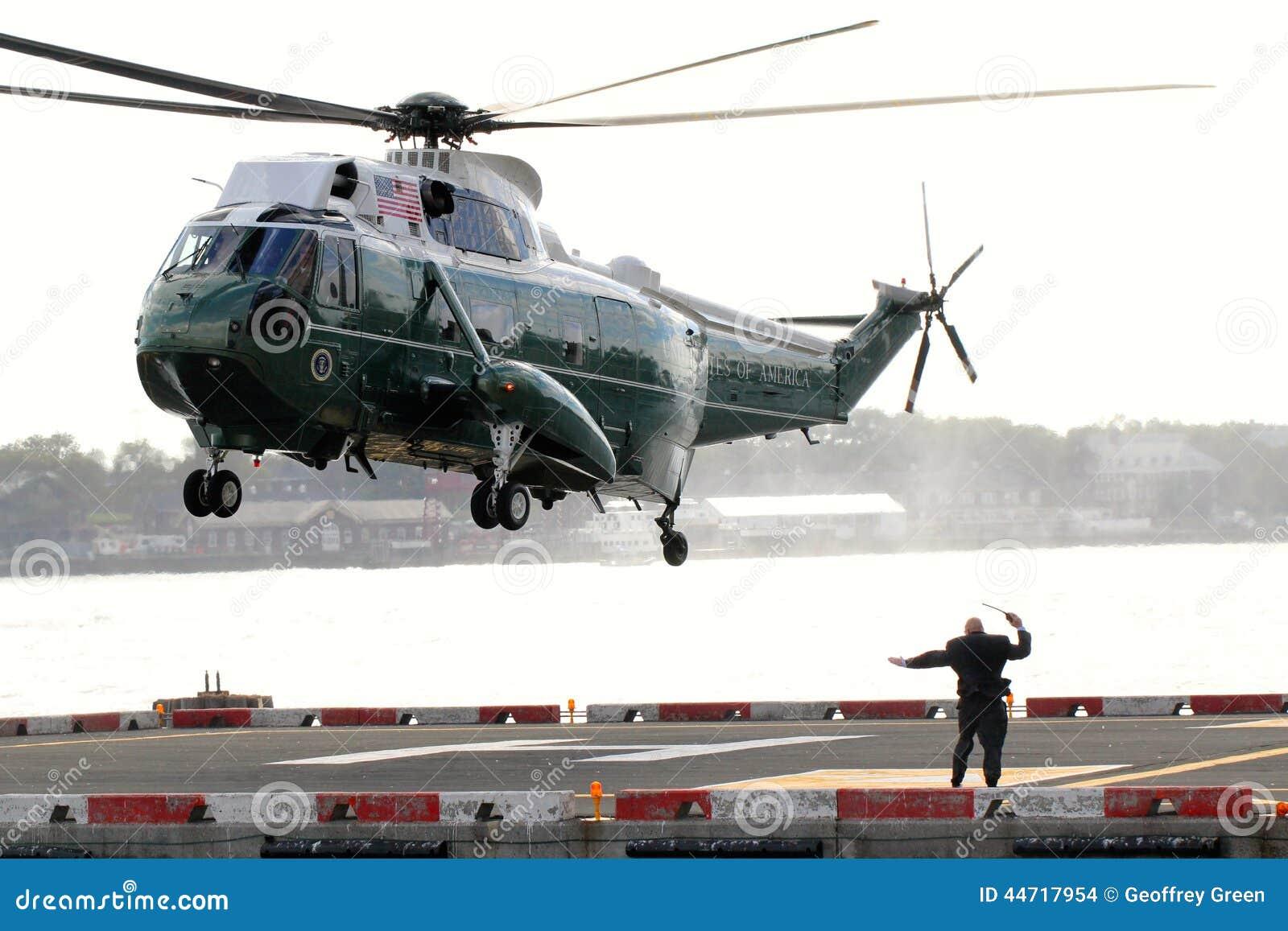 Atterrissage de Marine One VH-3D sur l héliport de Wall Street
