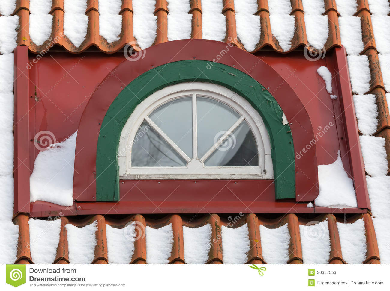 4 Season Roofing Attic Arch Window With Snow On Red Tile Roof Stock Photos ...