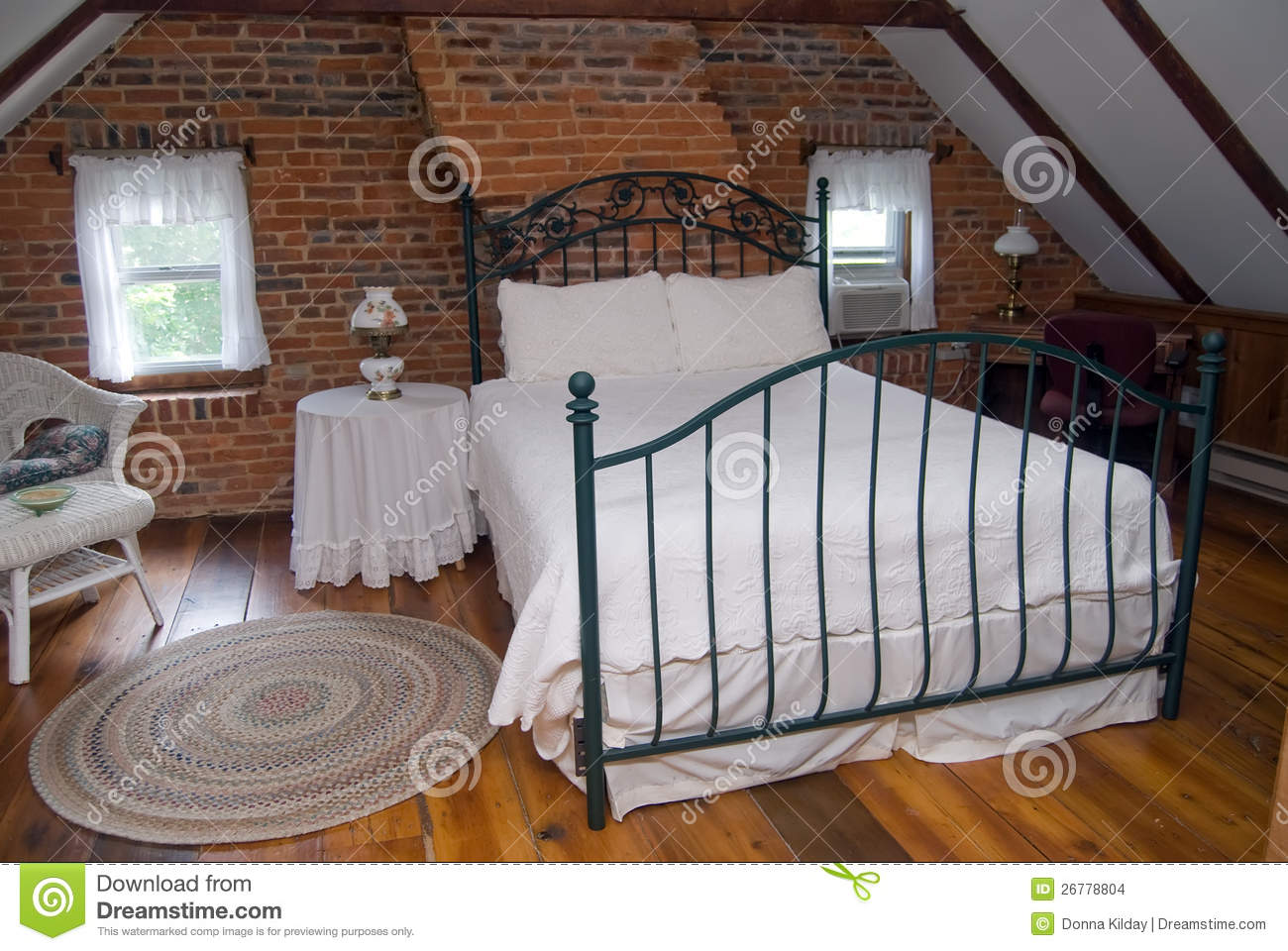 Attic Bedroom Stock Photo Image Of Bedspread Home
