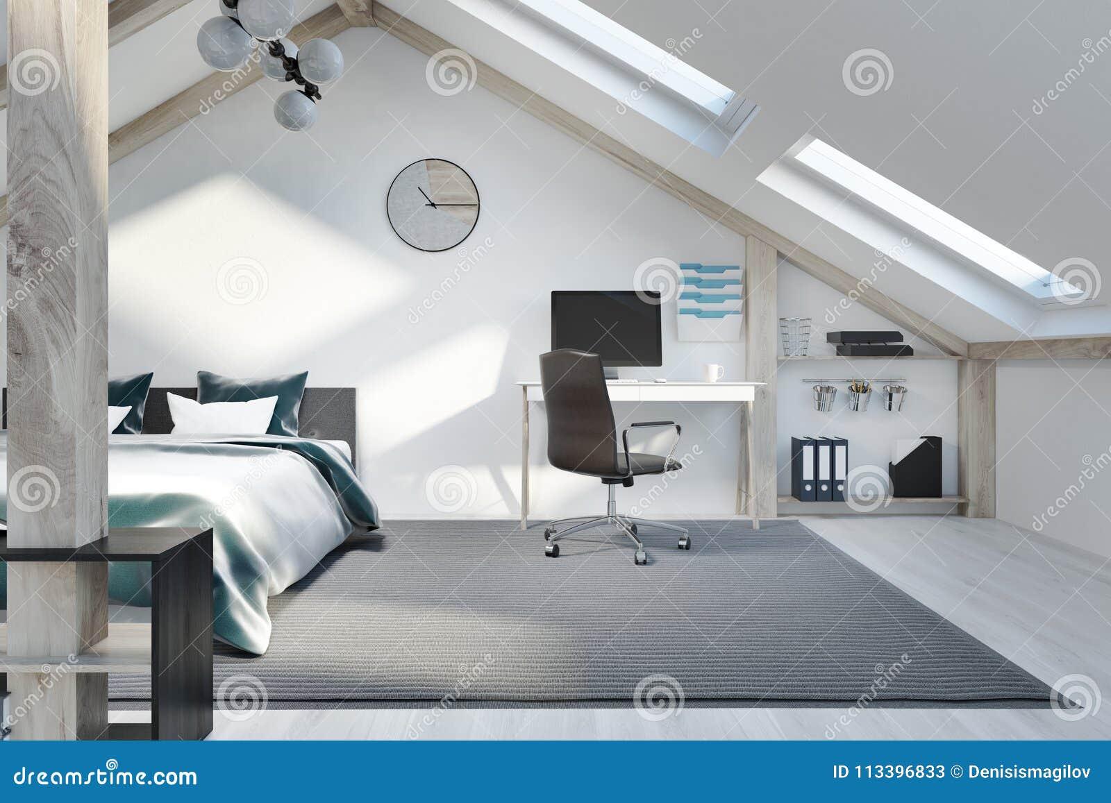 Attic Bedroom And Home Office Interior Stock Illustration Illustration Of Garret Minimalist 113396833