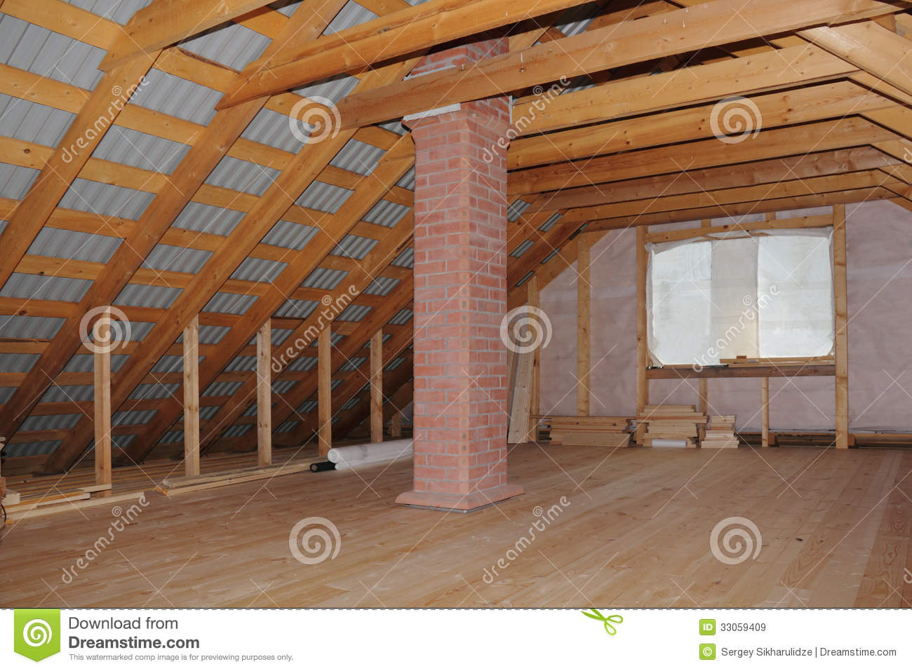 Attic With Chimney In Wooden House Under Construction