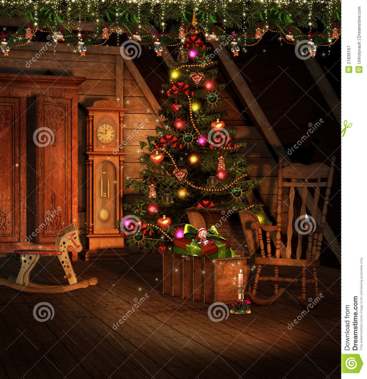 Decorations For A Halloween Party: Attic With Christmas Decorations Stock Illustration