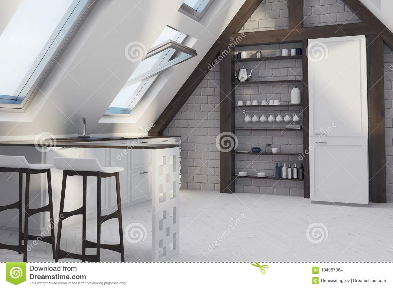Attic Dining Room With A Bar