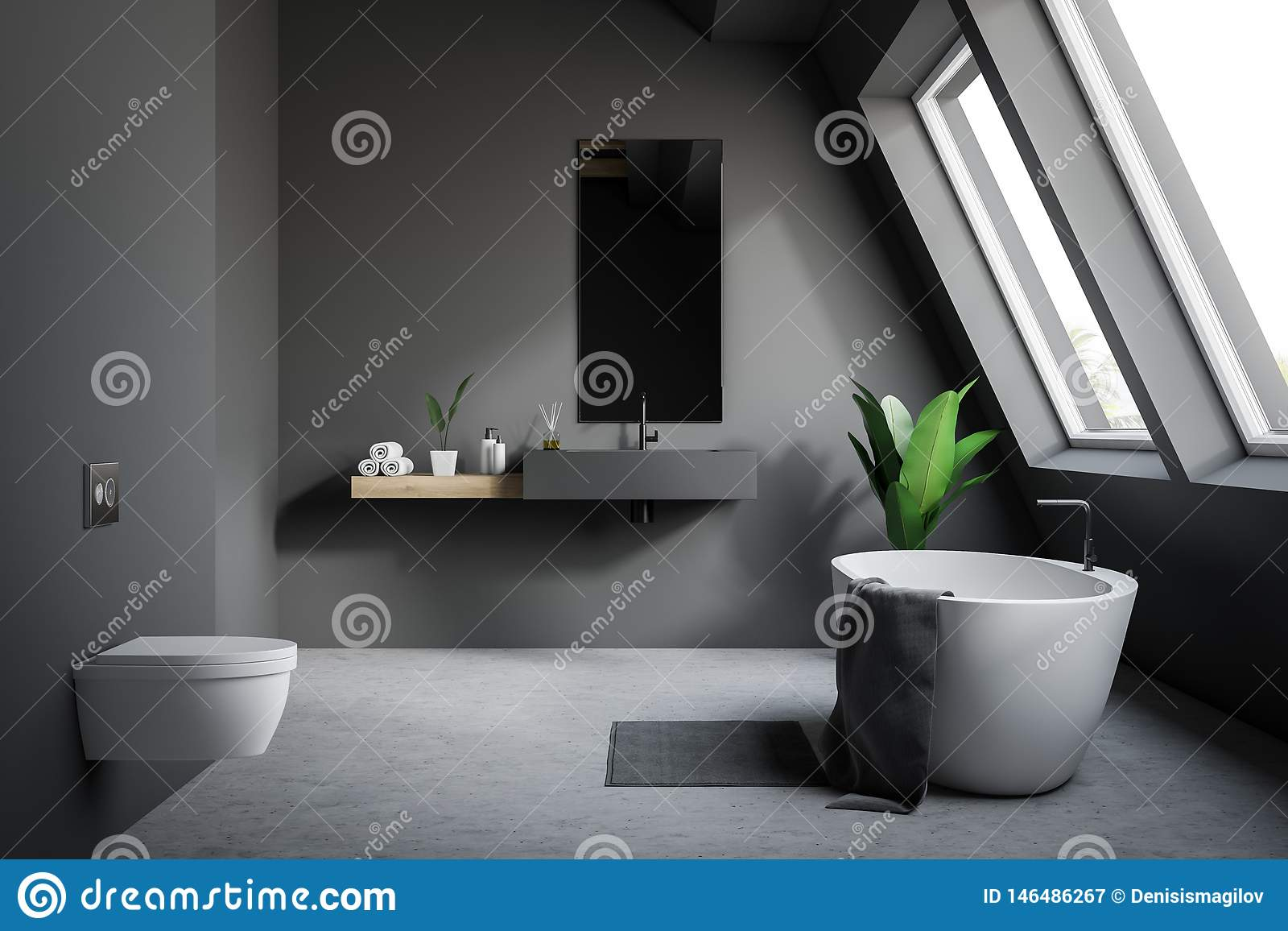 Attic Gray Bathroom With Toilet Stock Illustration