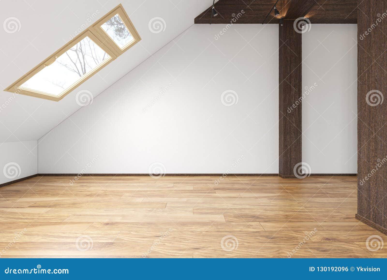 Attic Loft Open Space Empty Interior With Beams Windows Stairway Wooden Floor Stock Illustration Illustration Of Empty Inside 130192096