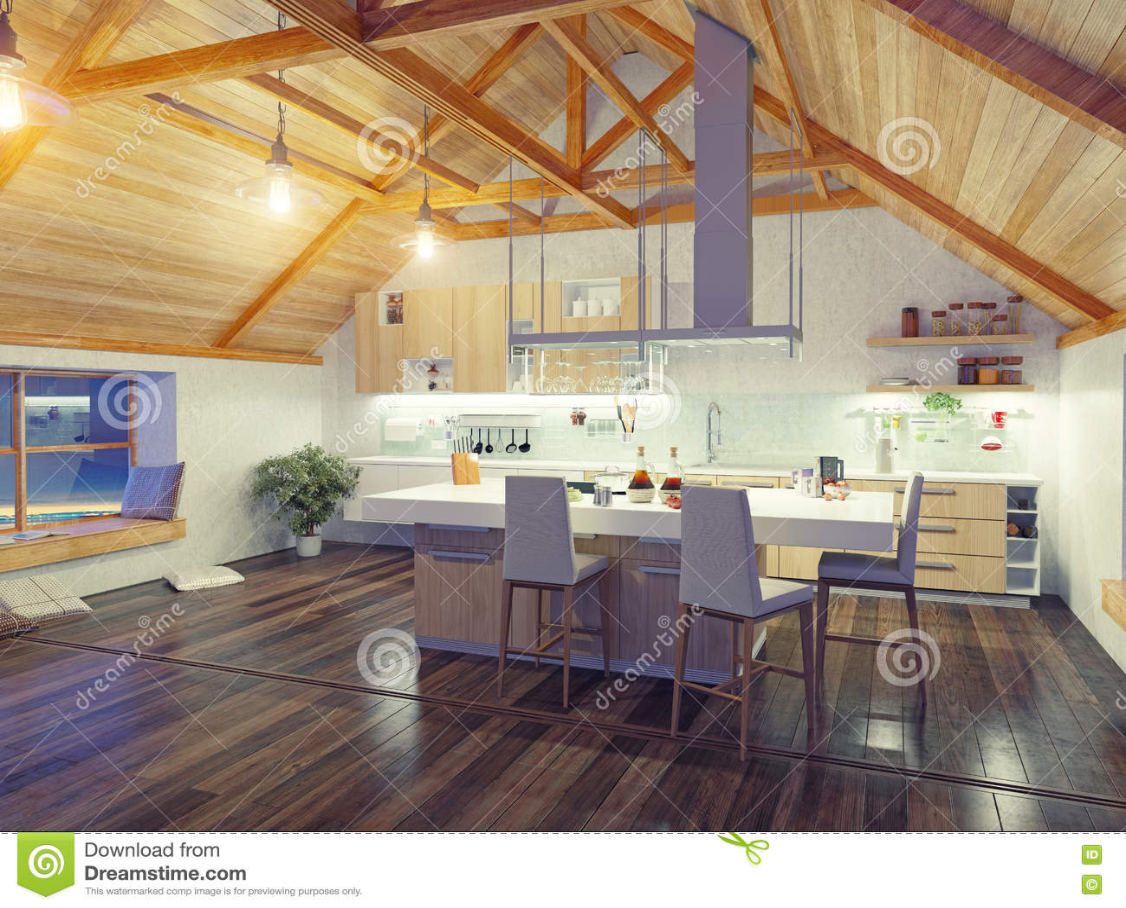 Attic modern kitchen interior stock illustration image for Attic kitchen designs