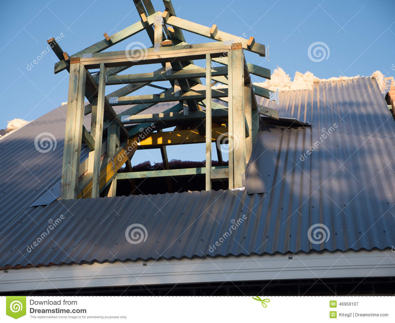 Attic Roof Window In Construction Showing Frame