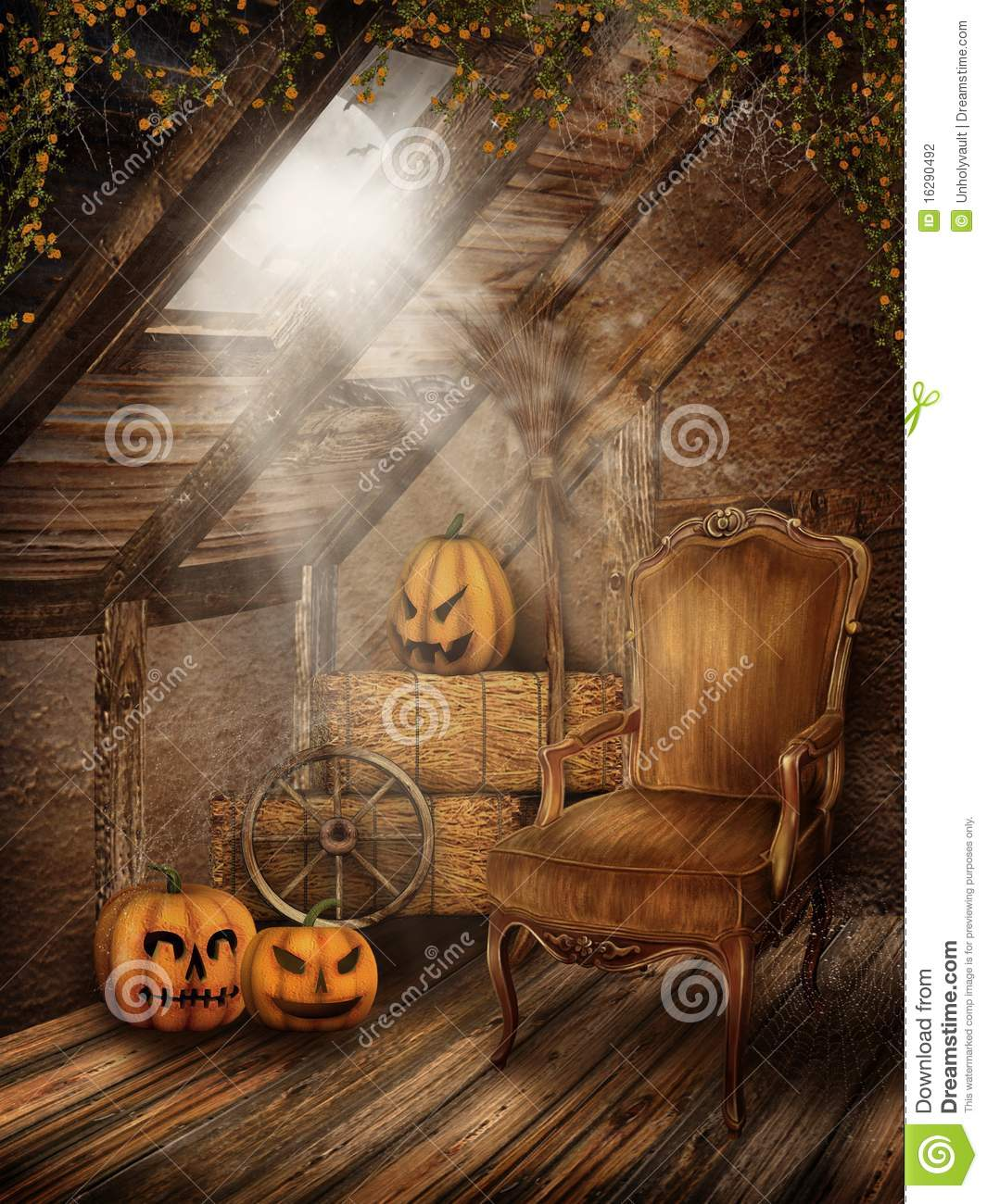 Halloween Window Decorations: Attic Room With Halloween Decorations Stock Illustration
