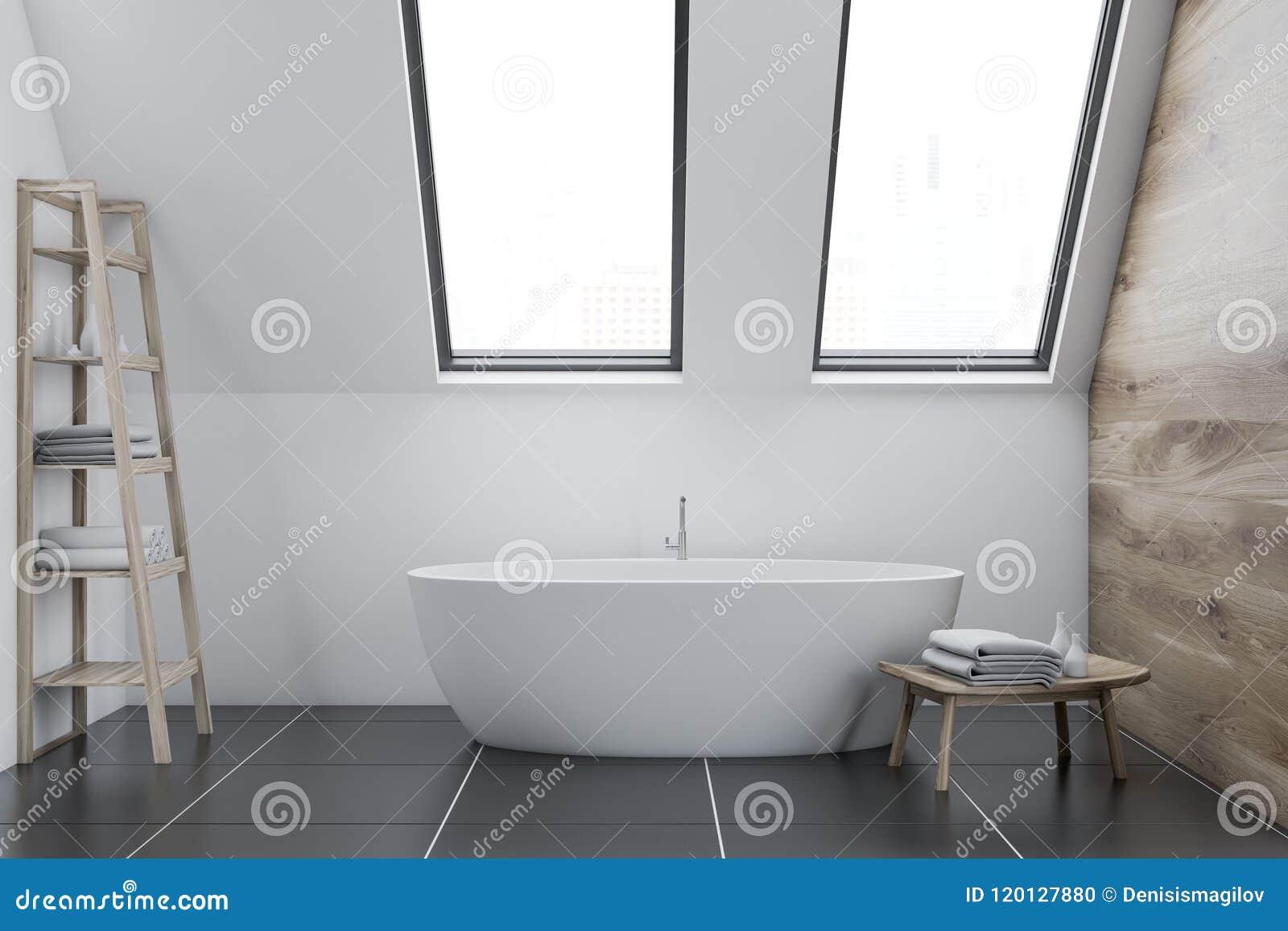 Attic White Bathroom Interior, Shelf And Tub Stock Illustration ...
