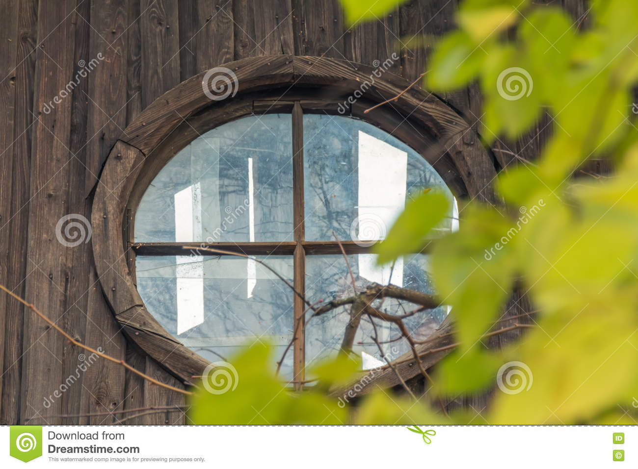 Attic window in abandoned house