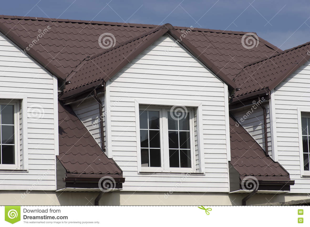 Big Attic Window With Curtains Royalty Free Stock