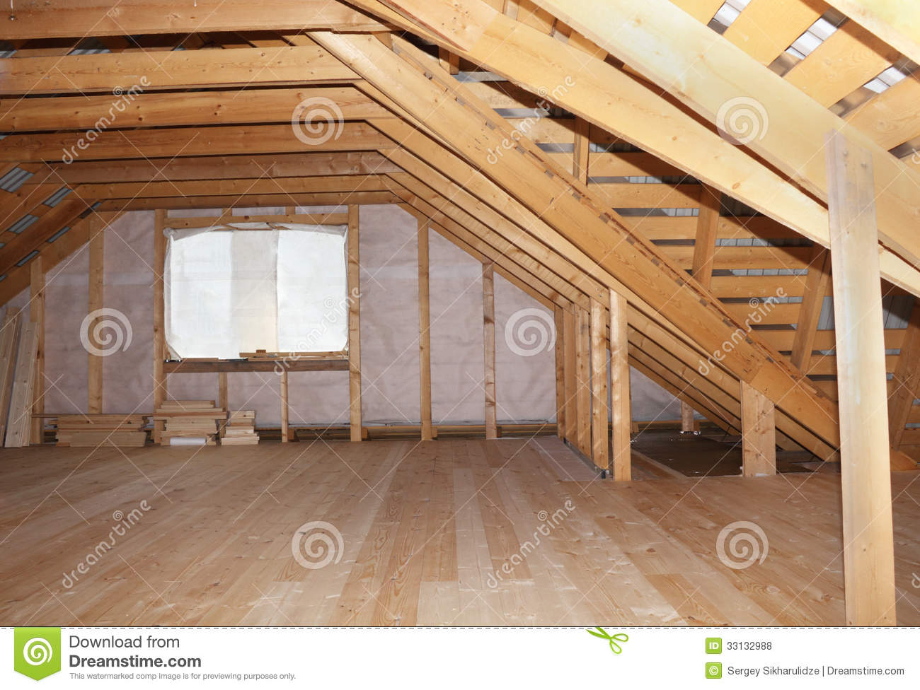 a frame attic ideas - Attic In Wooden House Under Construction Overall View