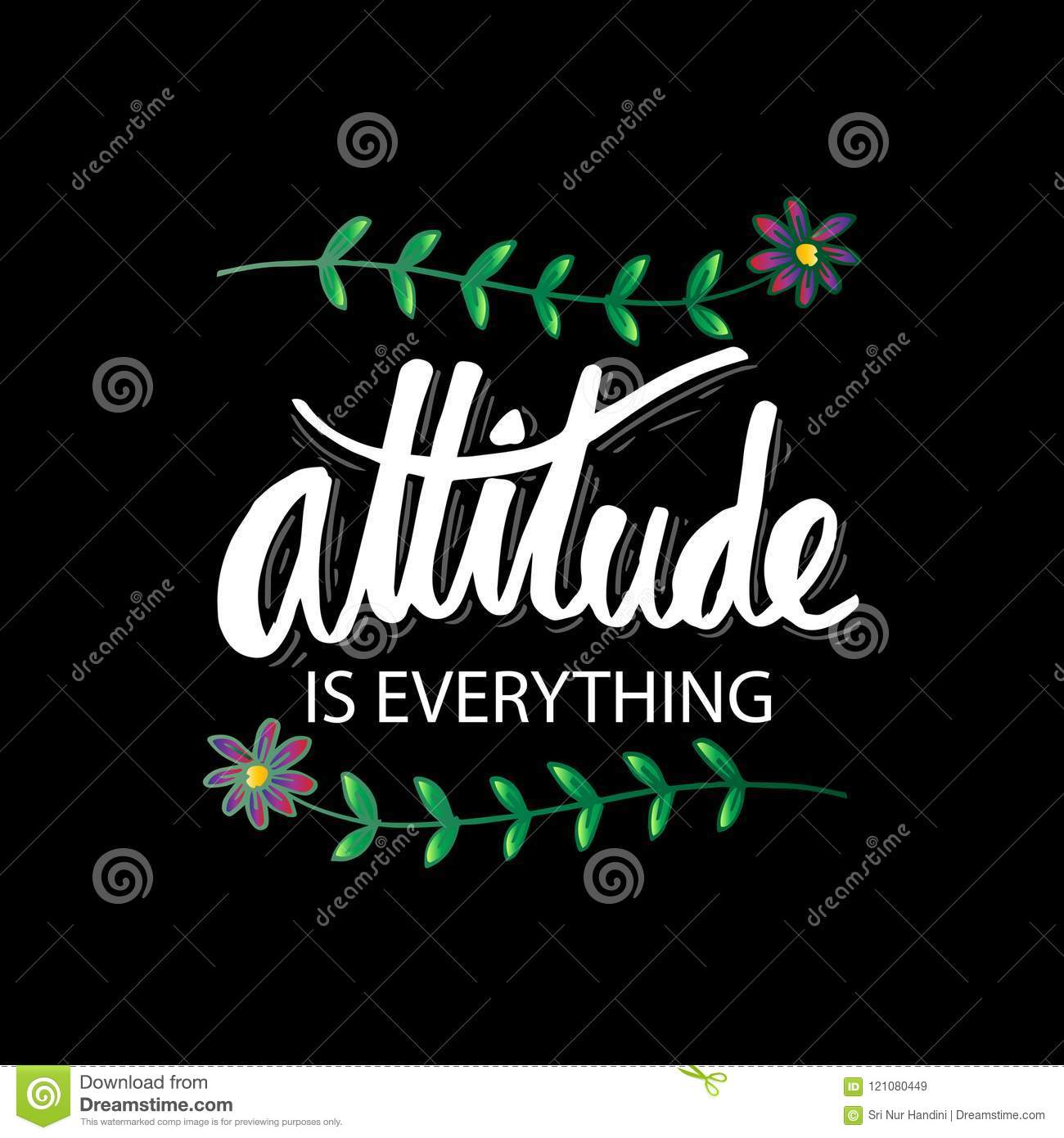 Attitude Is Everything Hand Lettering Stock Illustration
