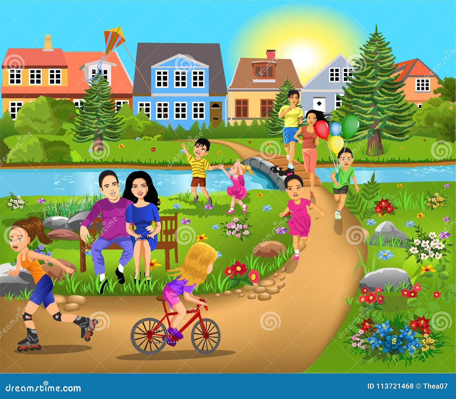 Attività di tempo libero, camminanti con il parco, il funzionamento e divertiresi