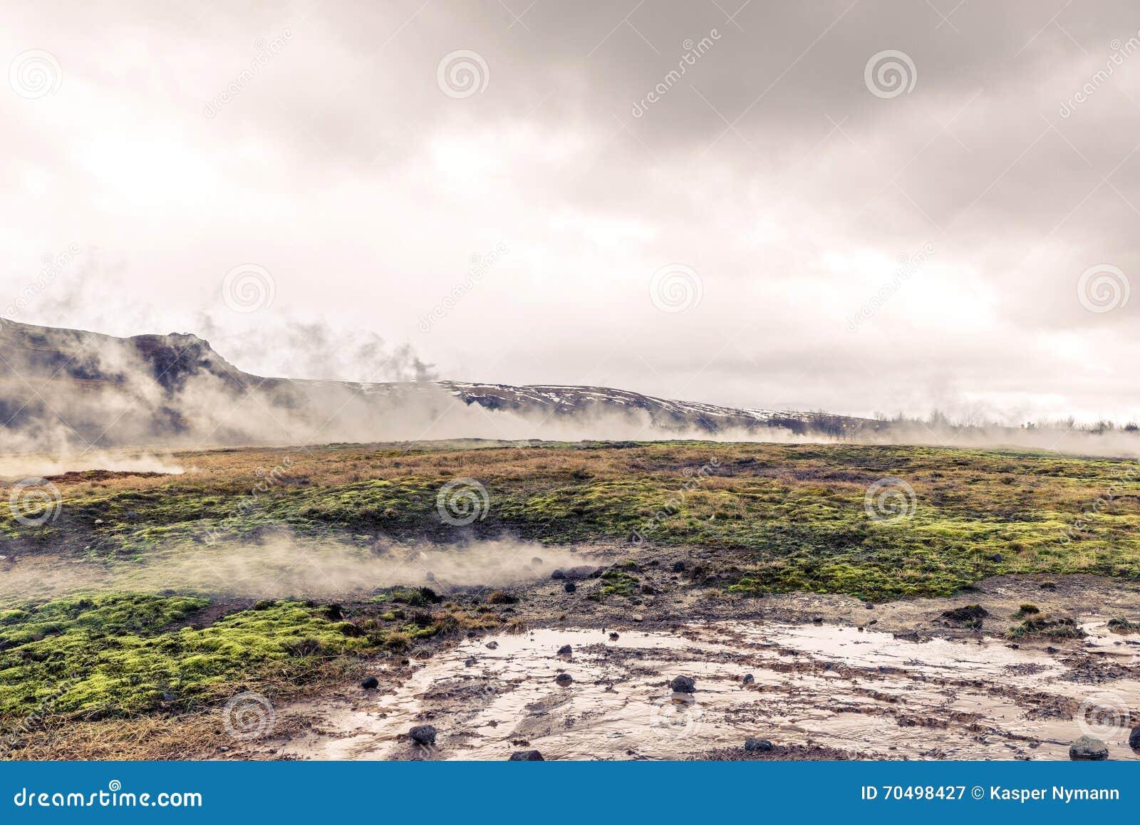 Attività geotermica in un paesaggio dall Islanda
