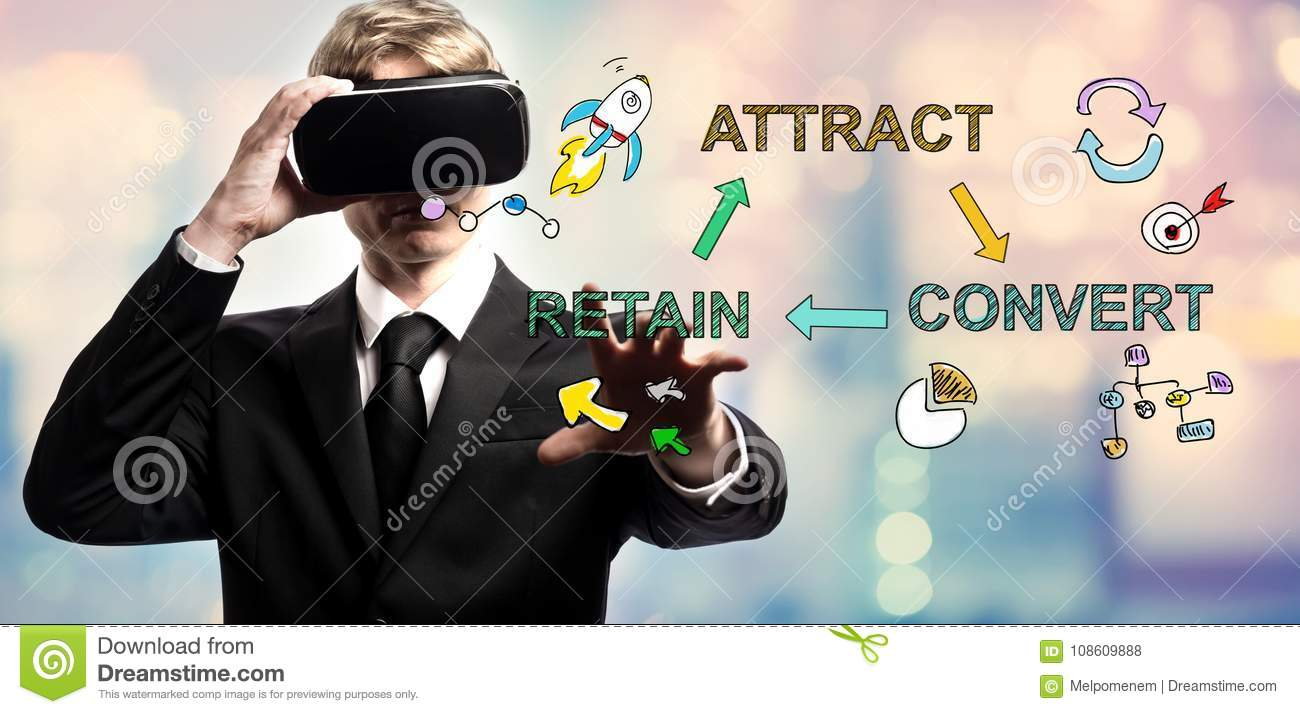 Attract Convert Retain text with businessman using a virtual reality